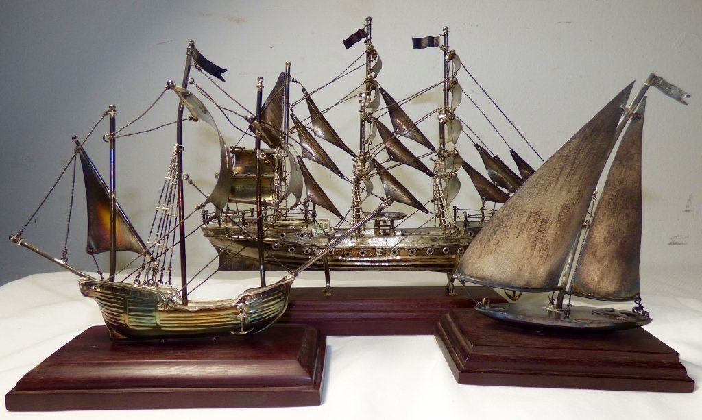 Three Mexican Sterling Silver Model Ships