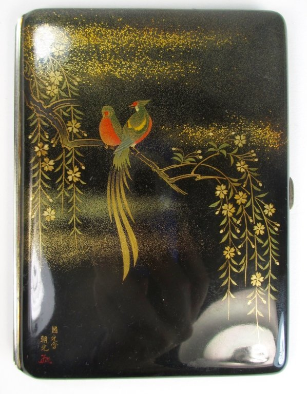 A Japanese Makie Lacquer Signed Cigarette Case