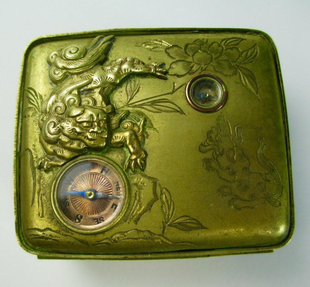 A Japanese Gilt Brass Snuff Box