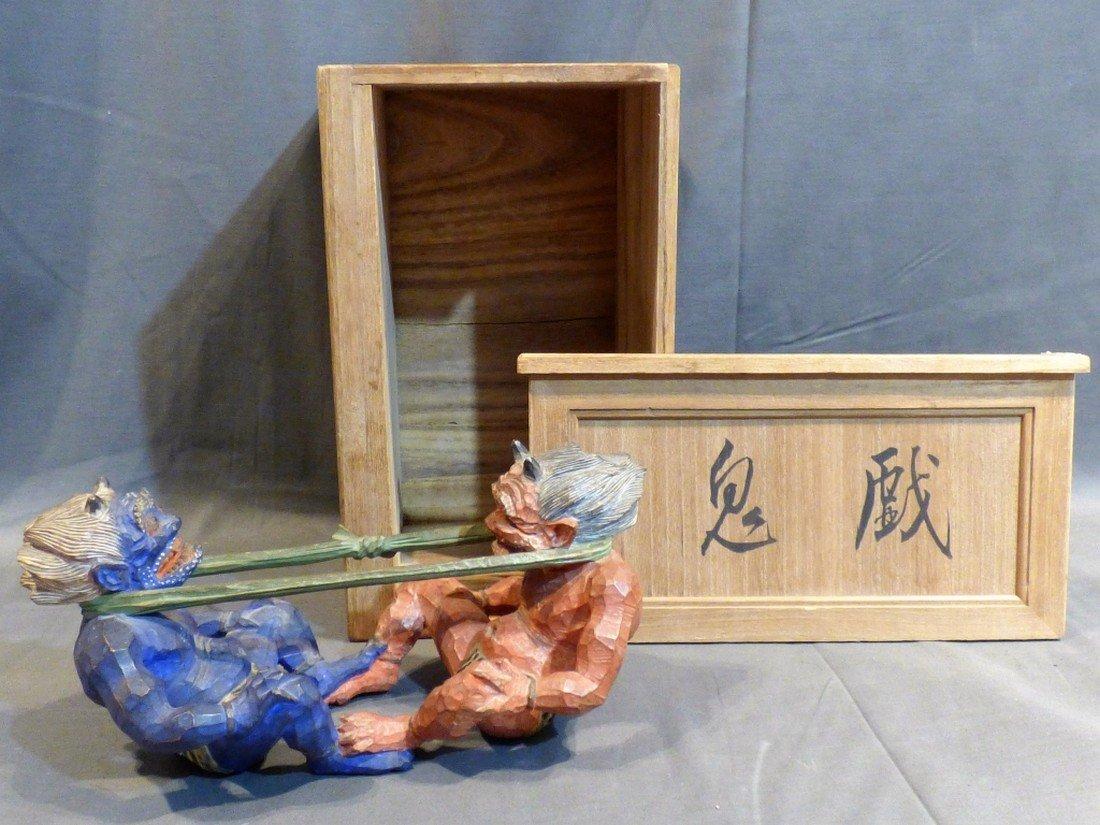 Japanese Carved Wood Okimono of Oni Demons