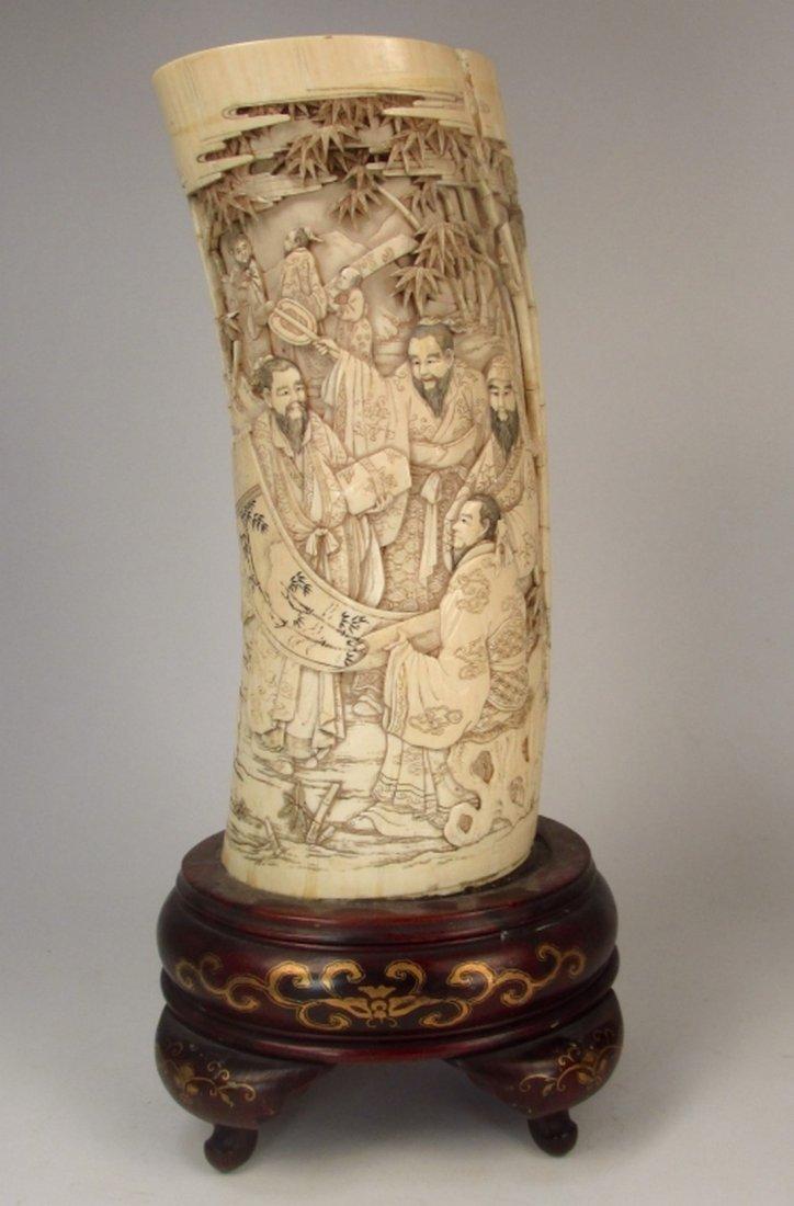 An antique Japanese ivory brush pot