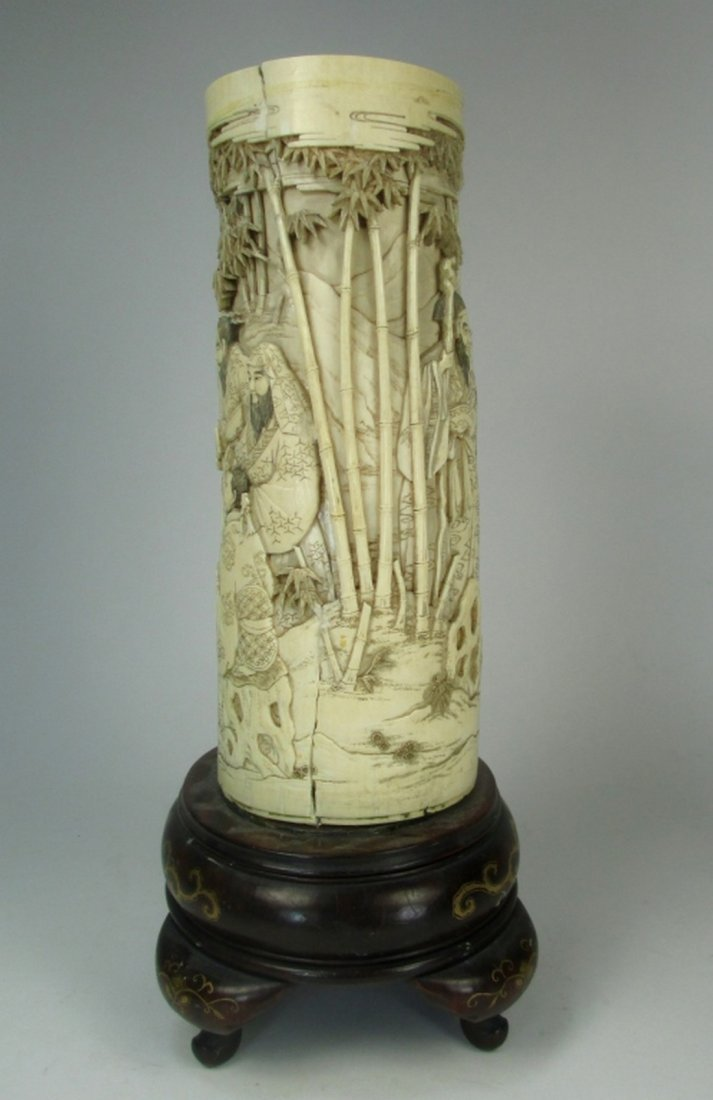 An antique Japanese ivory brush pot - 2