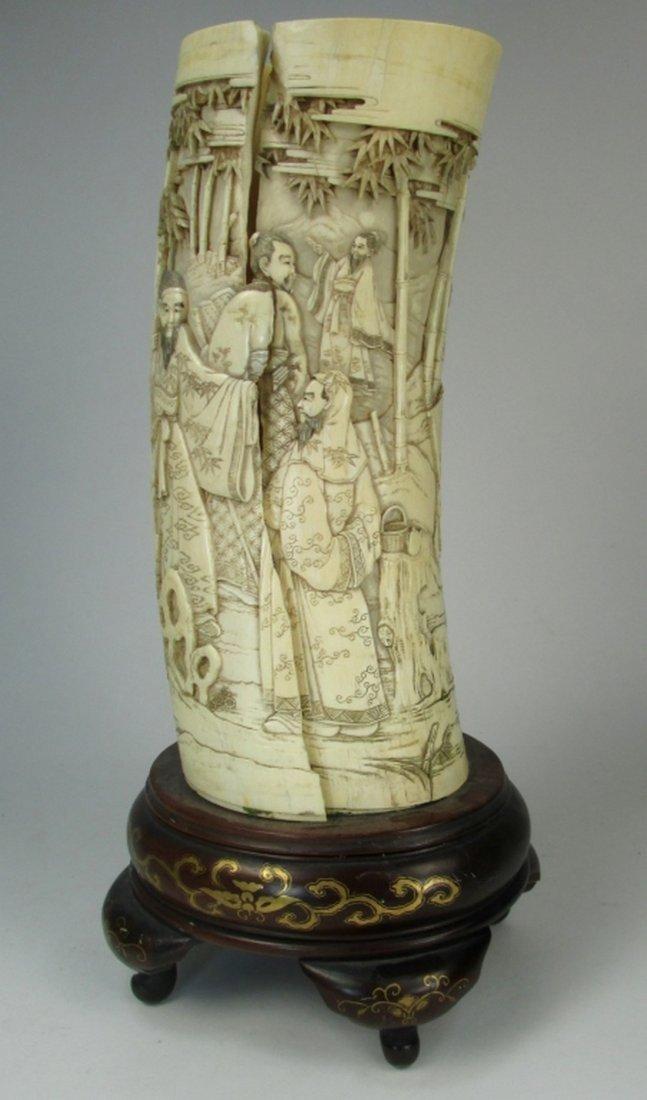 An antique Japanese ivory brush pot - 3