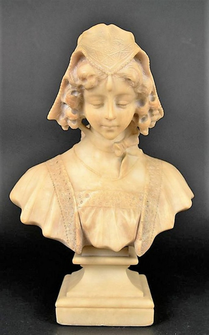 A Continental Carved Alabaster Bust of a Lady
