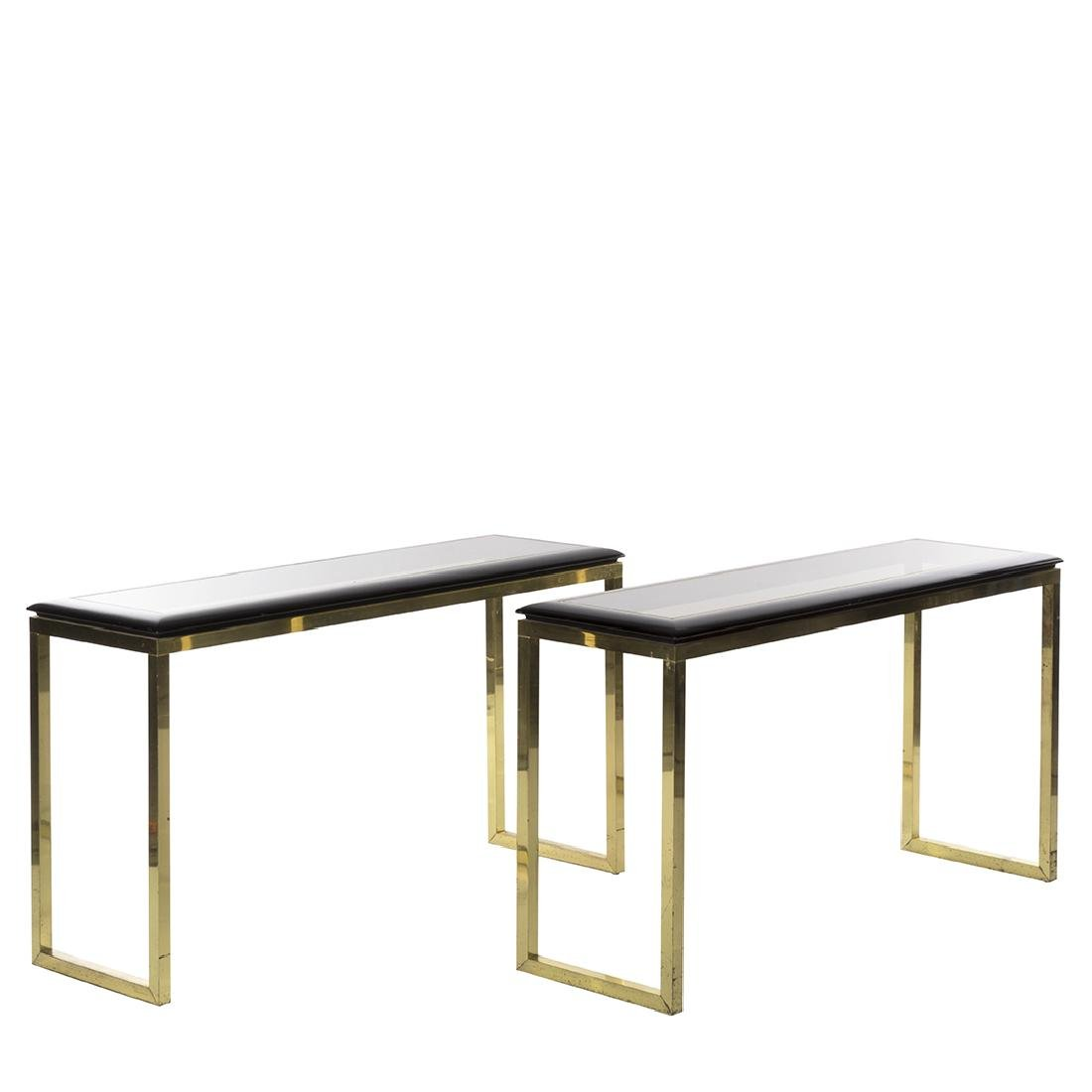 Oak and Brass Console Tables (2)