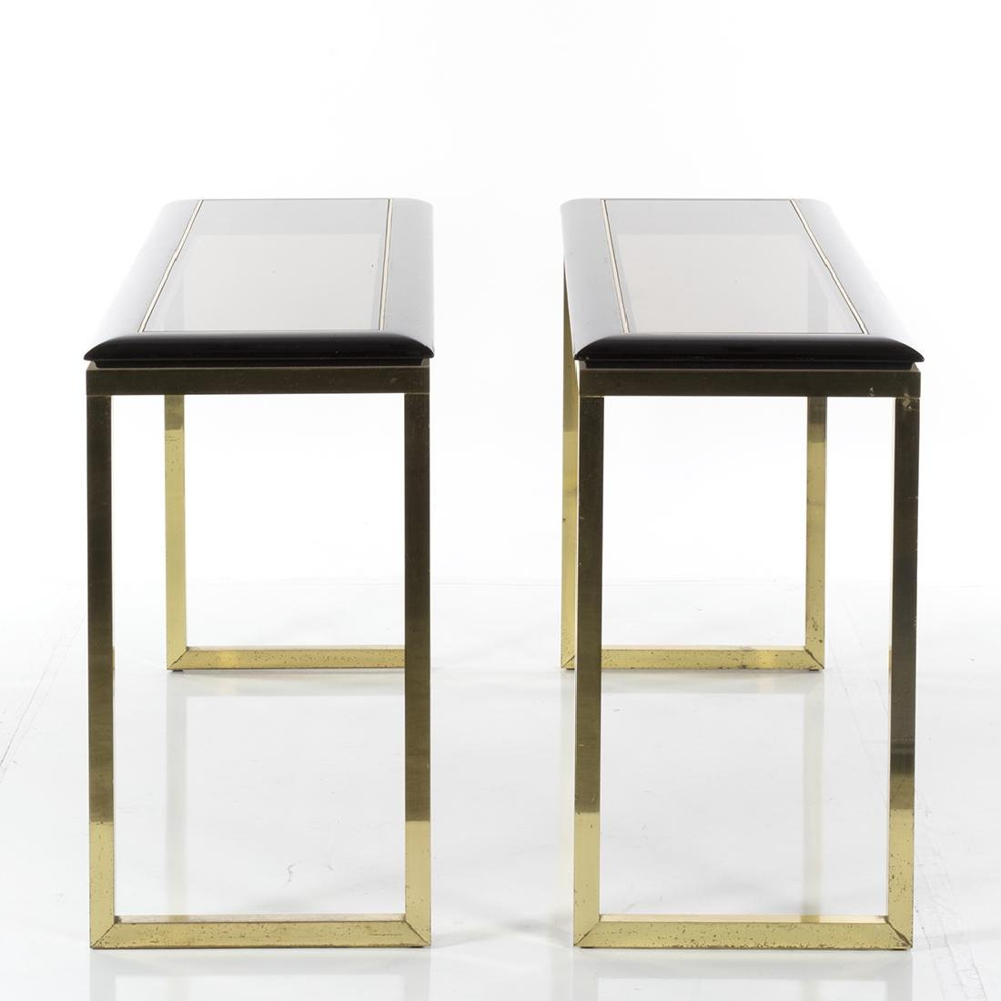 Oak and Brass Console Tables (2) - 2