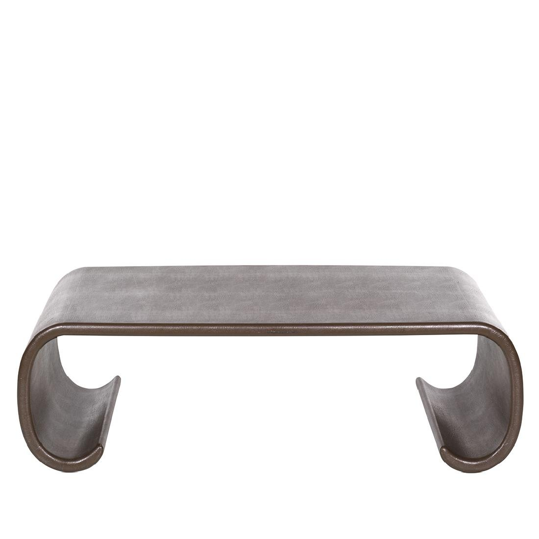 Karl Springer Leather Scroll Coffee Table