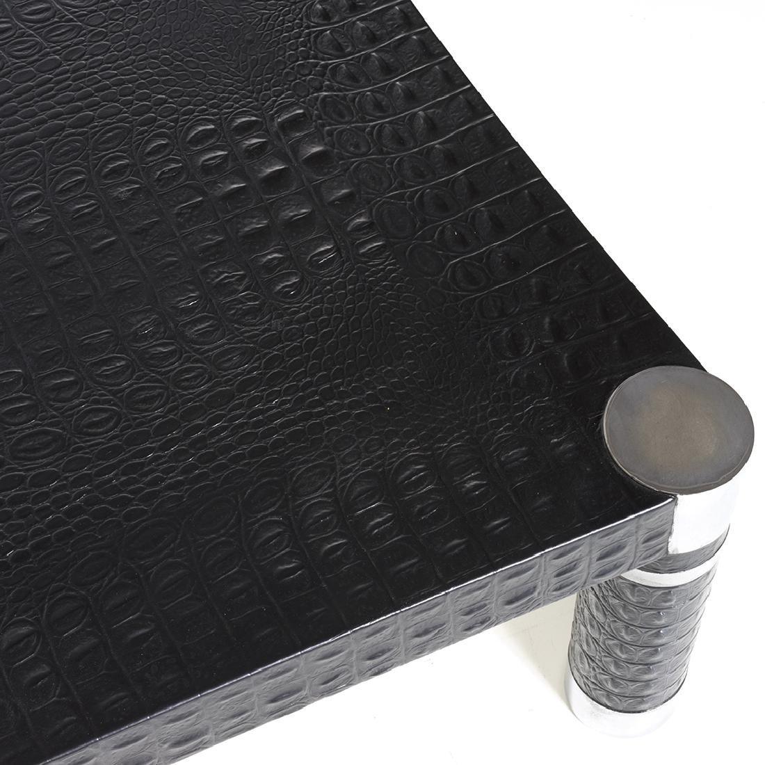 Karl Springer Embossed Leather Coffee Table - 2