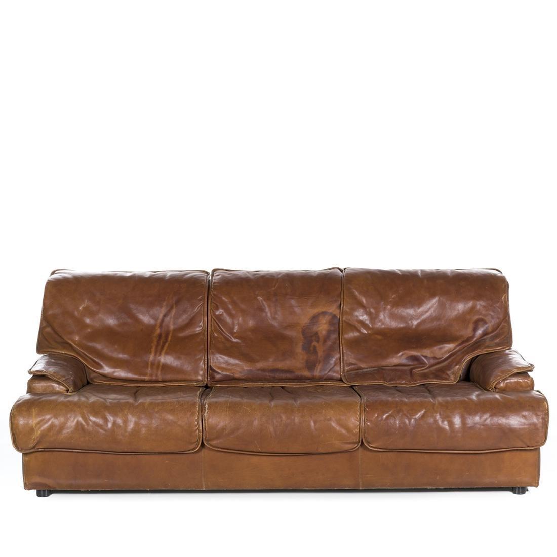 Saporiti Style Leather Sofa