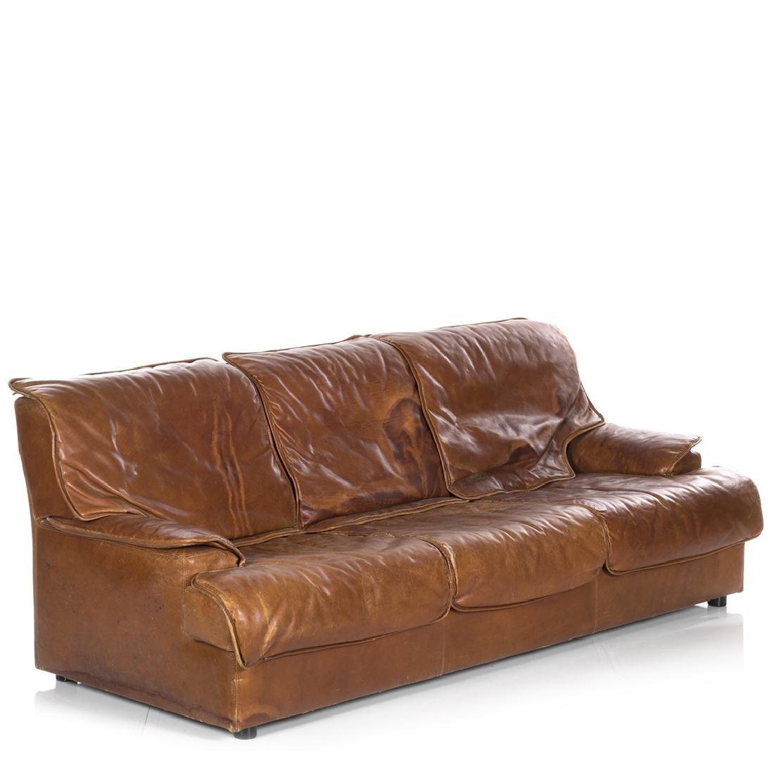 Saporiti Style Leather Sofa - 2
