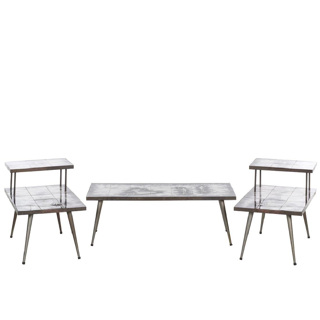Mid-century Iron and Tile Table Set (3)