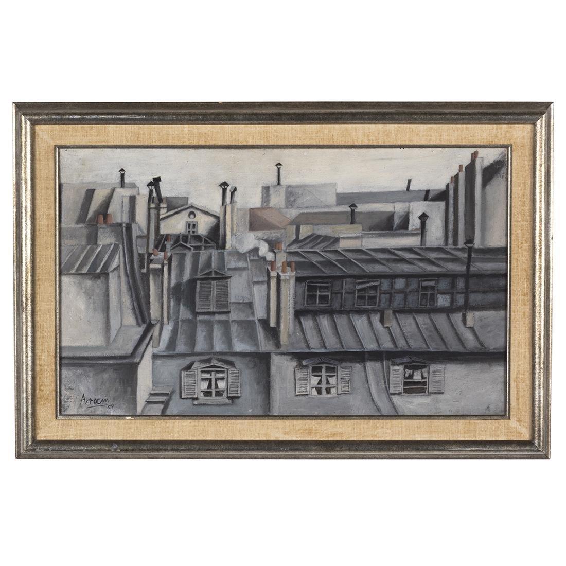 Gottlieb Michael Aram 'Paris Rooftops' Painting