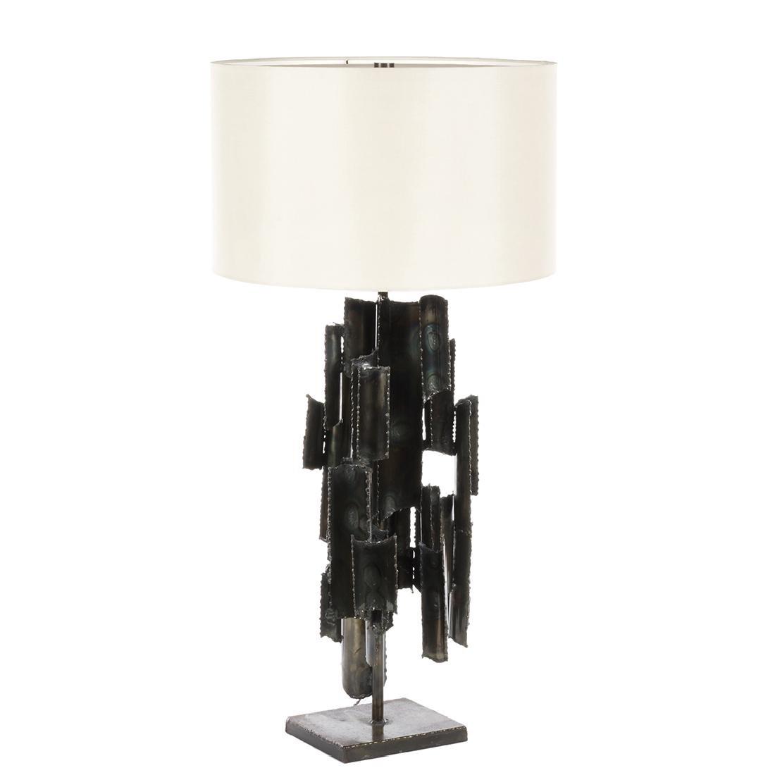 Marcello Fantoni Studio Burnished Metal Table Lamp