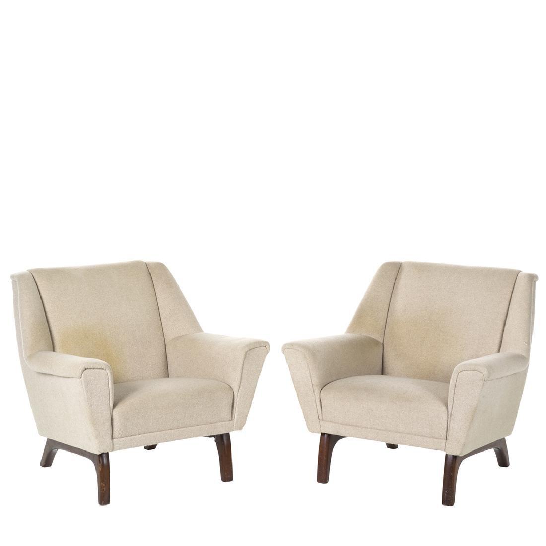 Danish Wool Lounge Chairs (2)