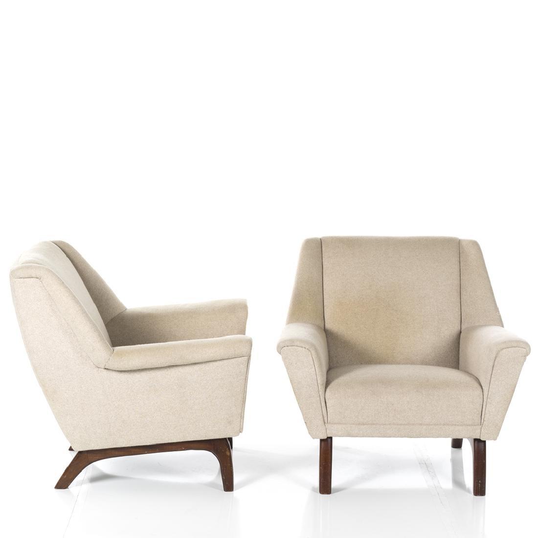 Danish Wool Lounge Chairs (2) - 2