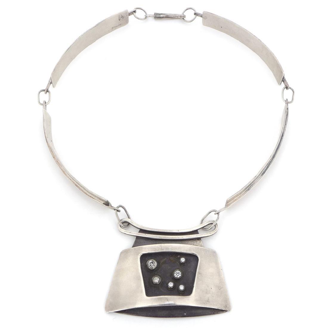 Ed Wiener Sterling Silver and Diamonds Choker