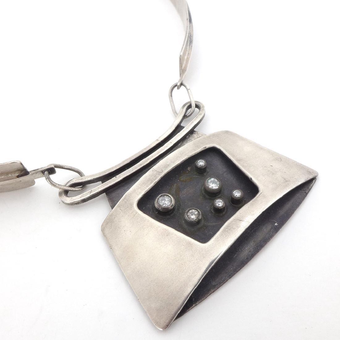 Ed Wiener Sterling Silver and Diamonds Choker - 2