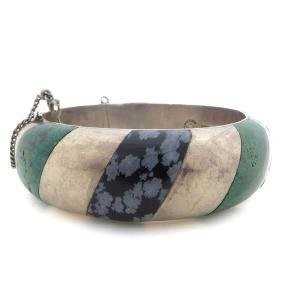 Piedra Plata Martinez Turquoise and Black Quartz Bangle