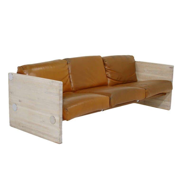 Milo Baughman Bleached Oak Sofa