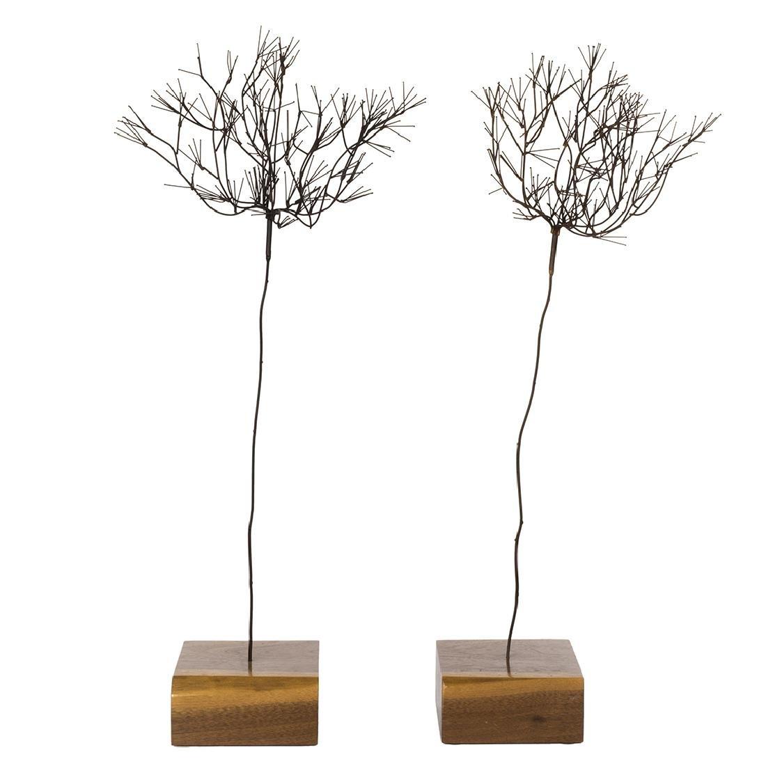 Mid-Century Metal Tree Sculptures (2)