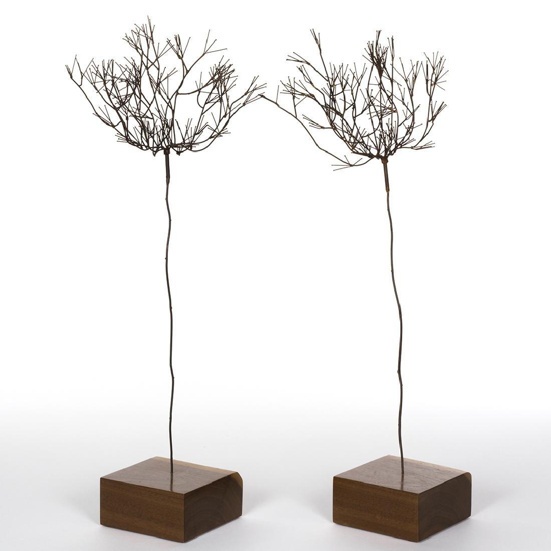 Mid-Century Metal Tree Sculptures (2) - 3