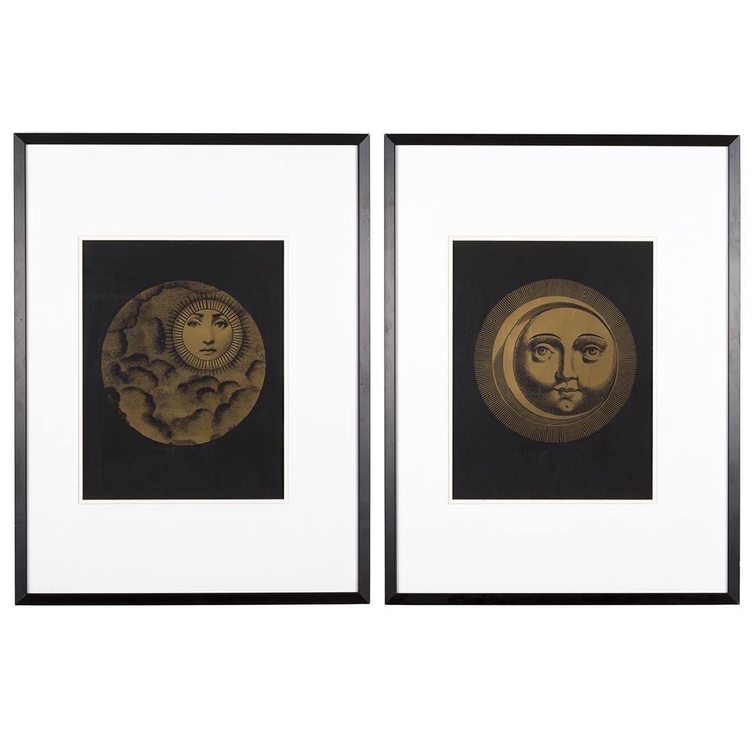 Piero Fornasetti Sole and Luna Silk Screen Prints (2)