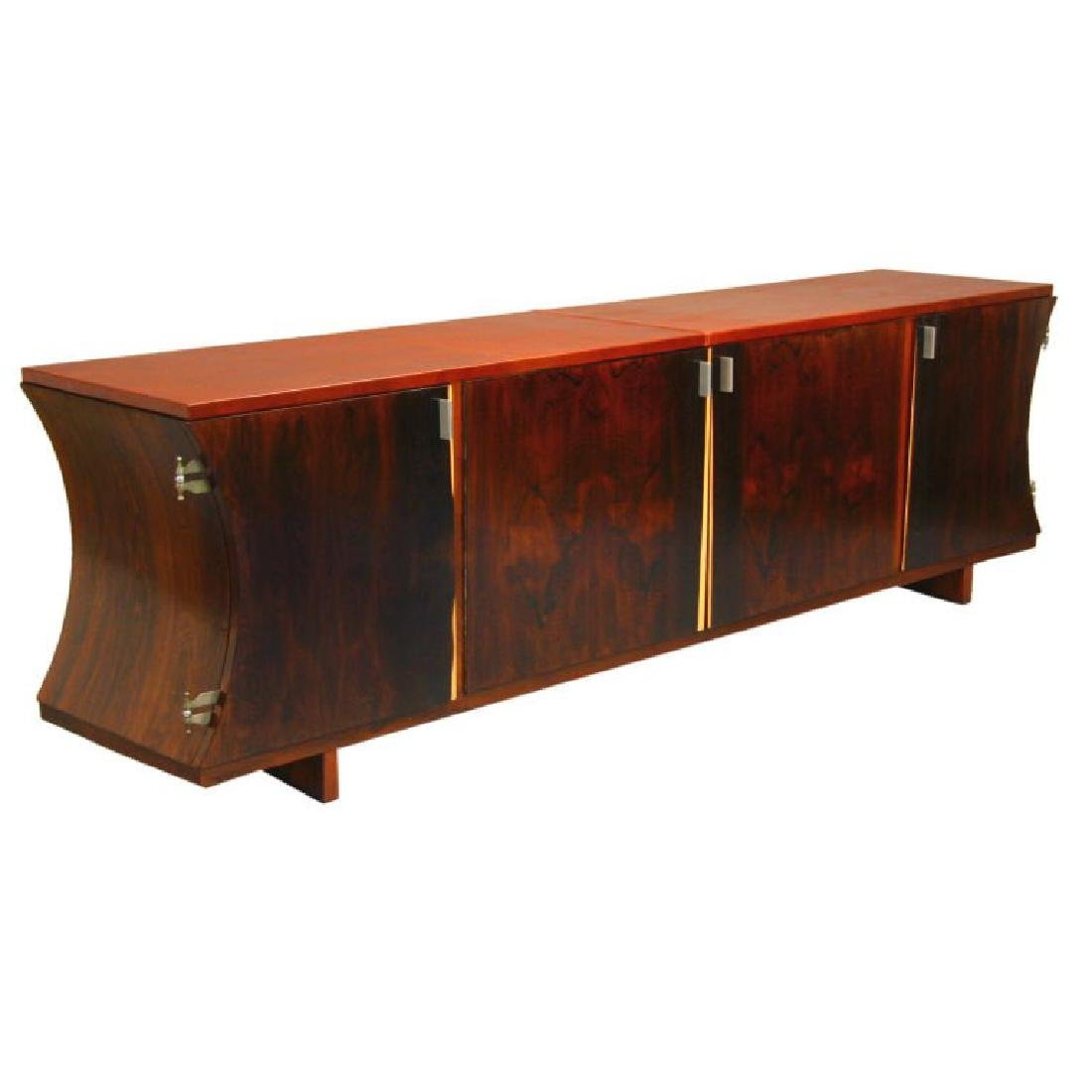 Brazilian Rosewood and Leather Cabinet