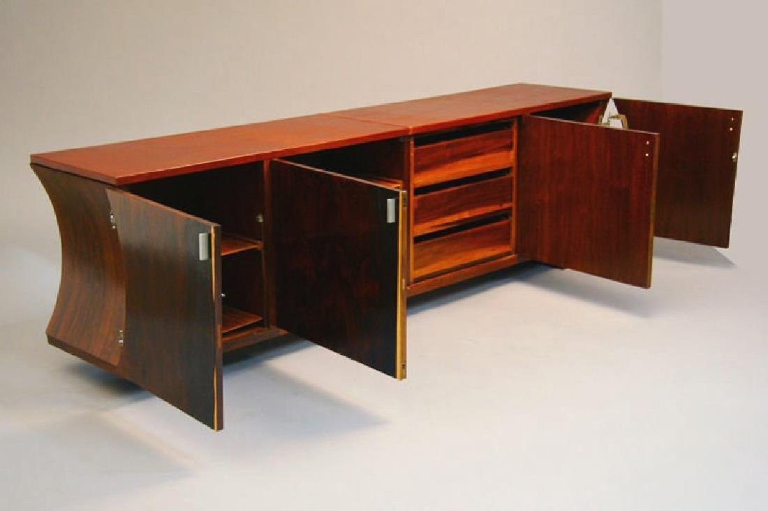 Brazilian Rosewood and Leather Cabinet - 2