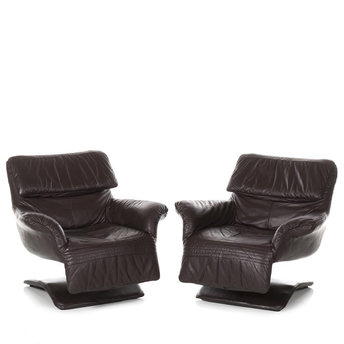 Scandinavian Leather Club Chairs (2)