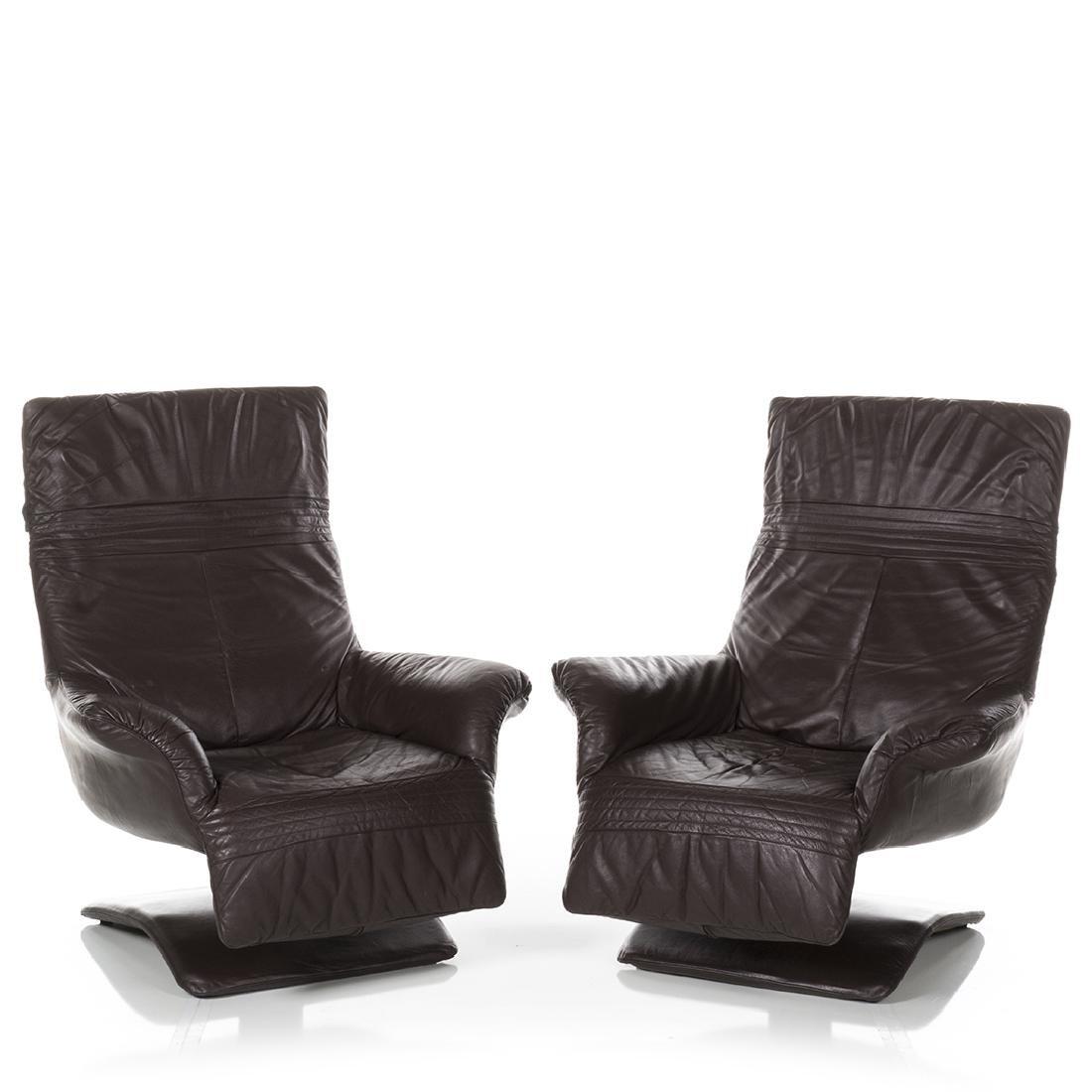 Scandinavian Leather Club Chairs (2) - 2
