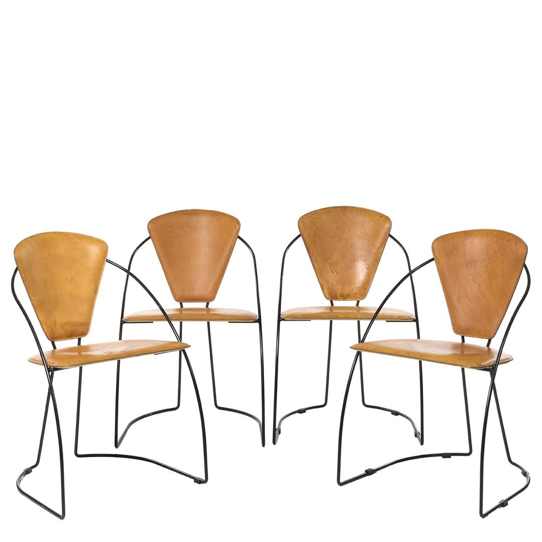 Iron and Leather Chairs (4)