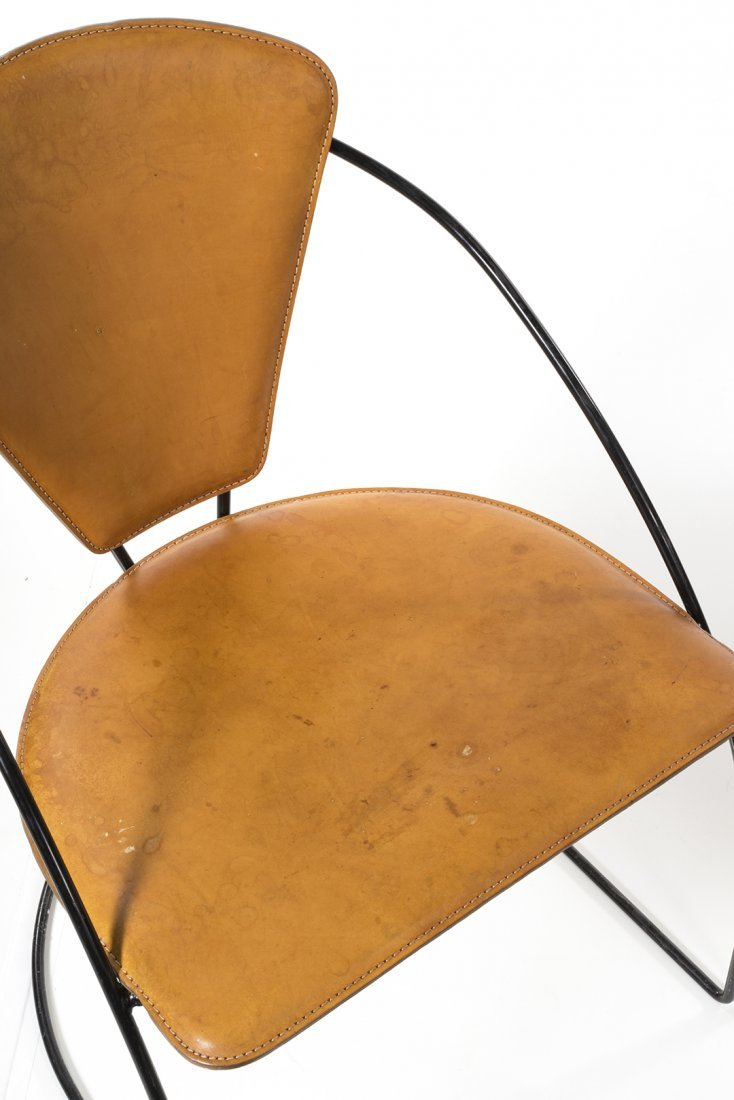 Iron and Leather Chairs (4) - 3