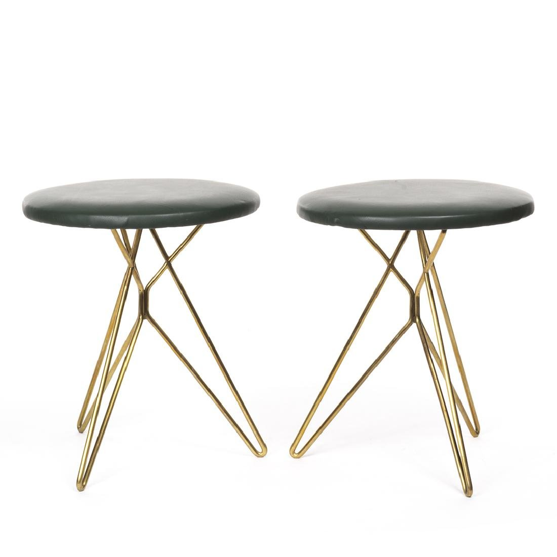 Italian leather and Brass Stools (2)