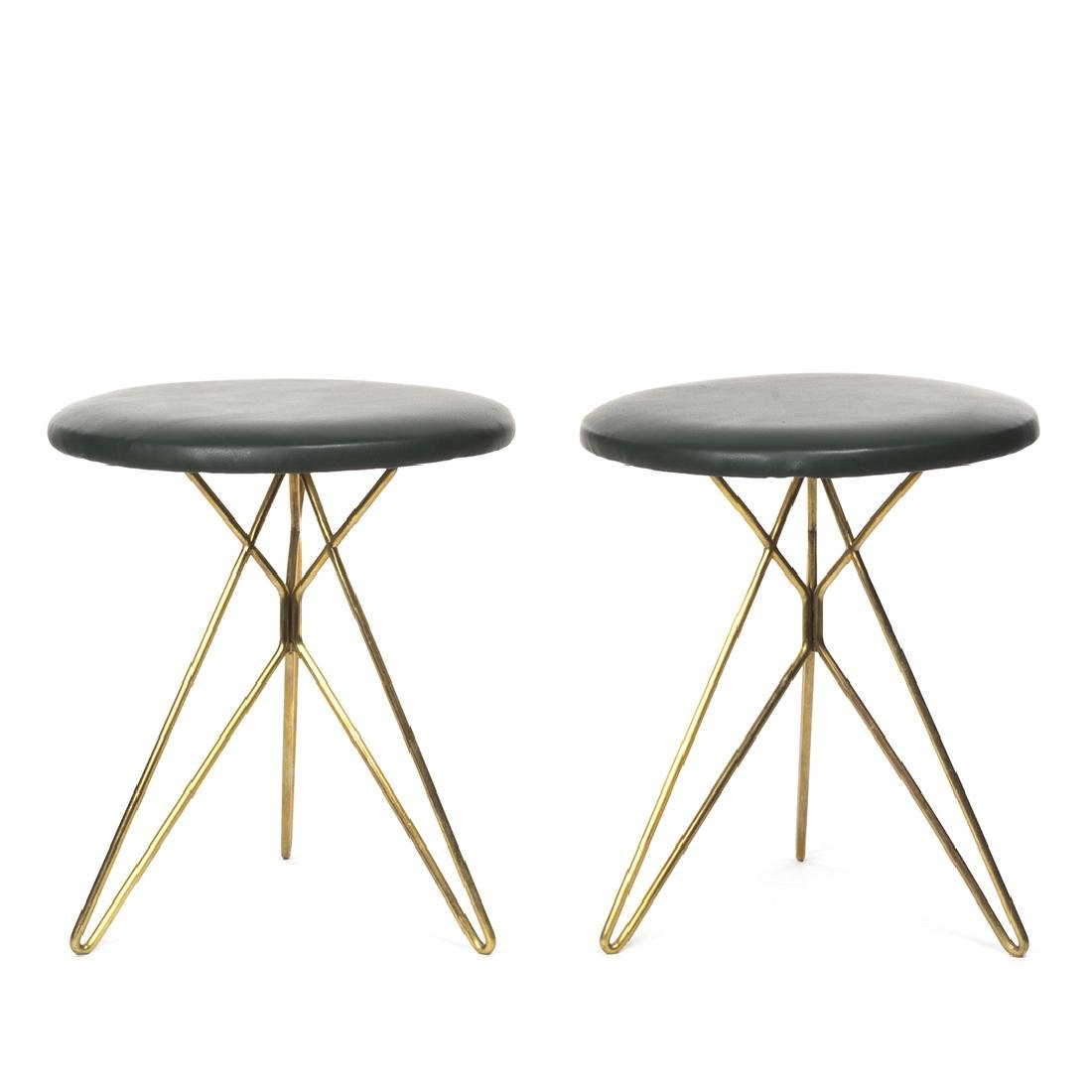 Italian leather and Brass Stools (2) - 2