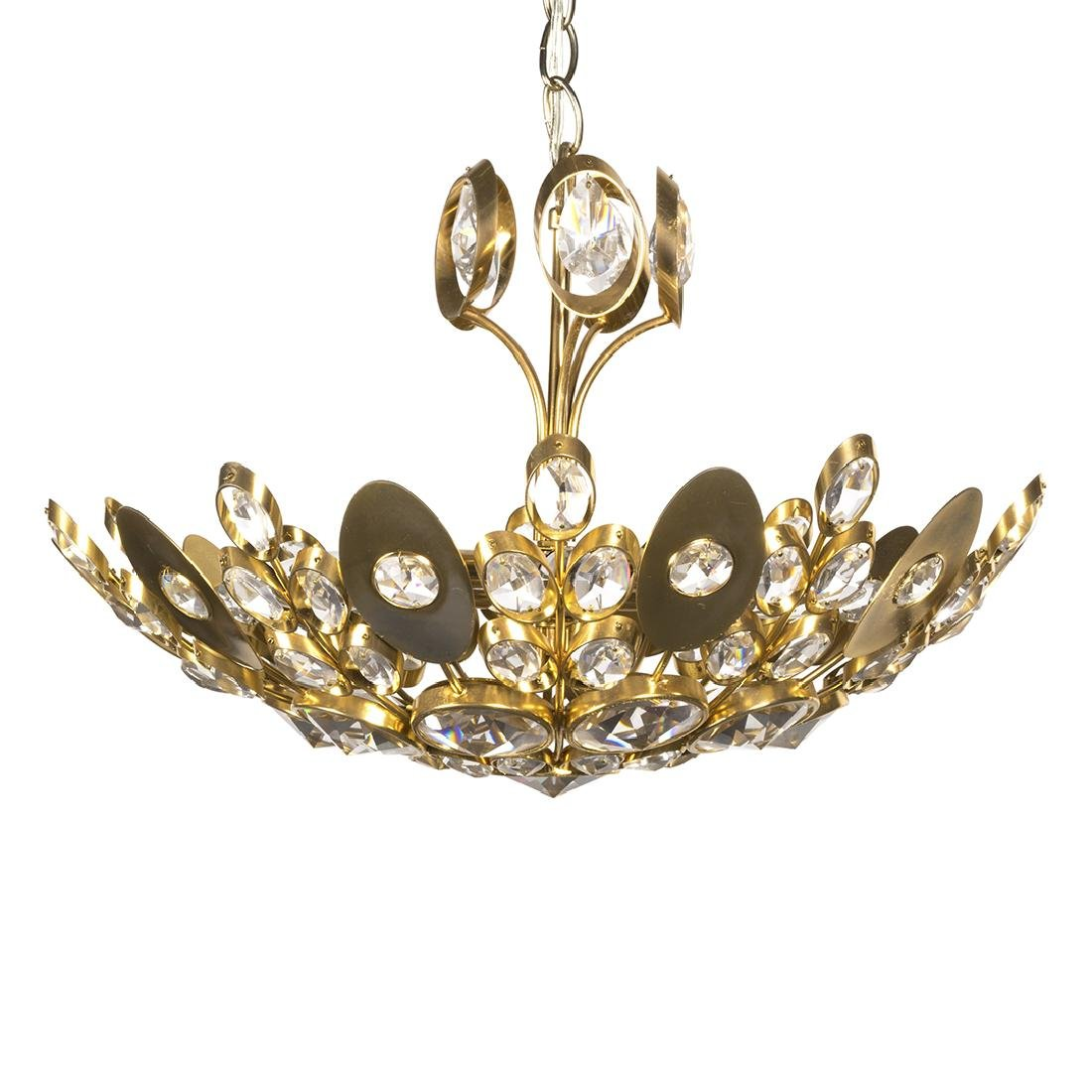 Italian Crystal and Brass Dome Light