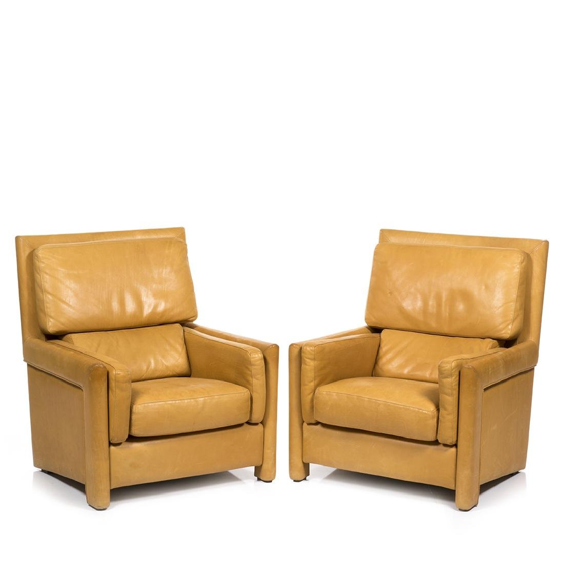 Roche Bobois Leather Club Chairs (2)
