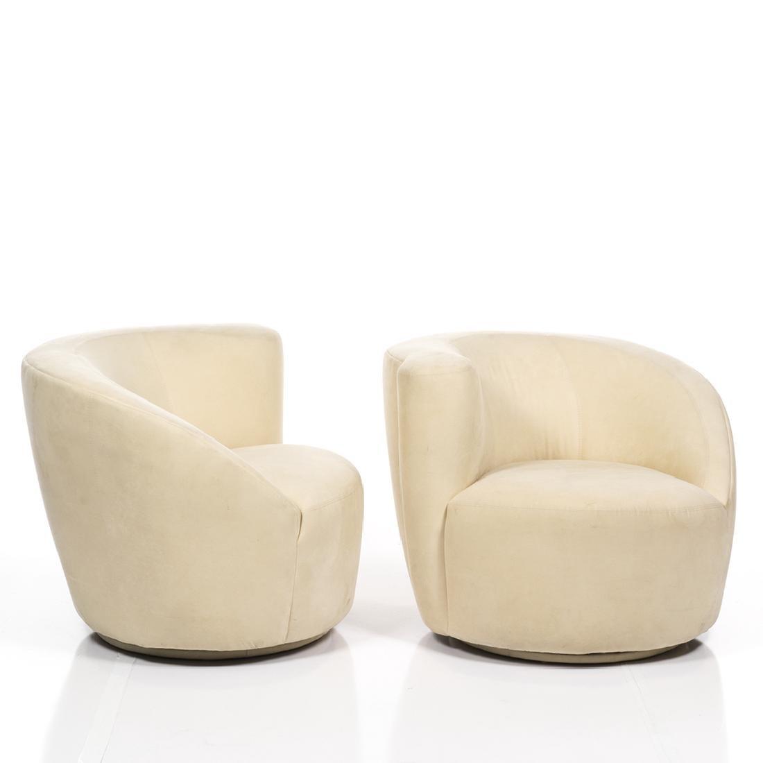 Vladimir Kagan Nautilus Chairs and Ottoman (3) - 2