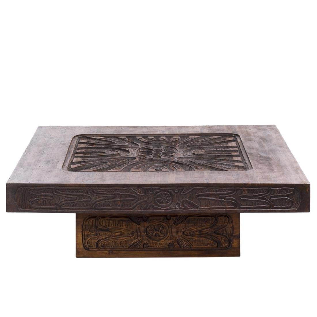 Carved Abstract Coffee Table - 2