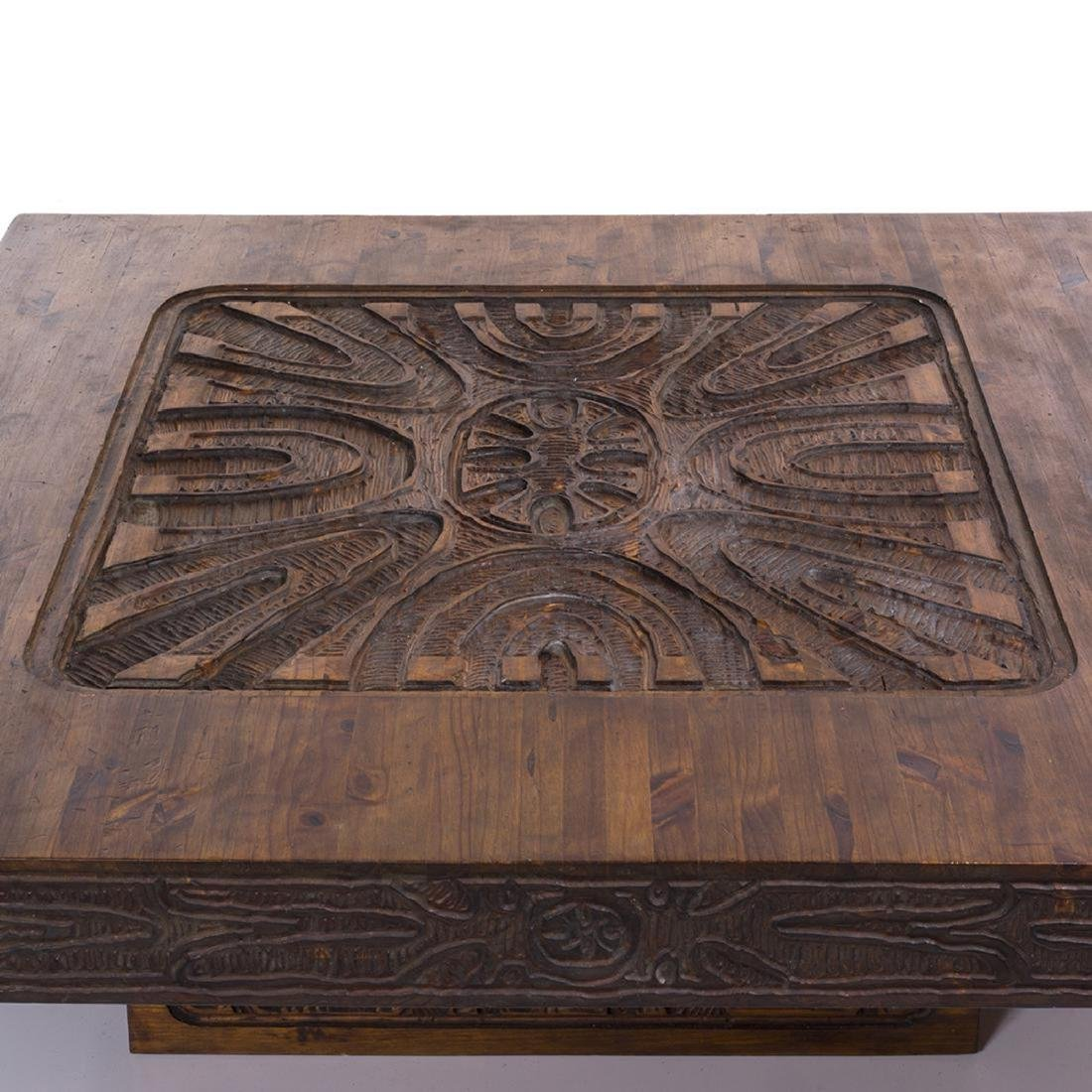 Carved Abstract Coffee Table - 3