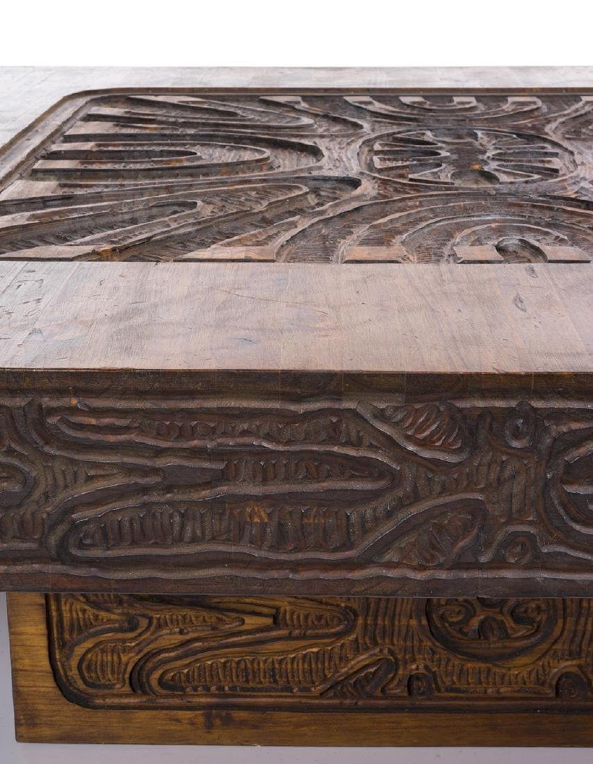 Carved Abstract Coffee Table - 4