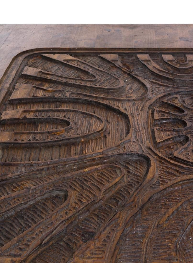 Carved Abstract Coffee Table - 5