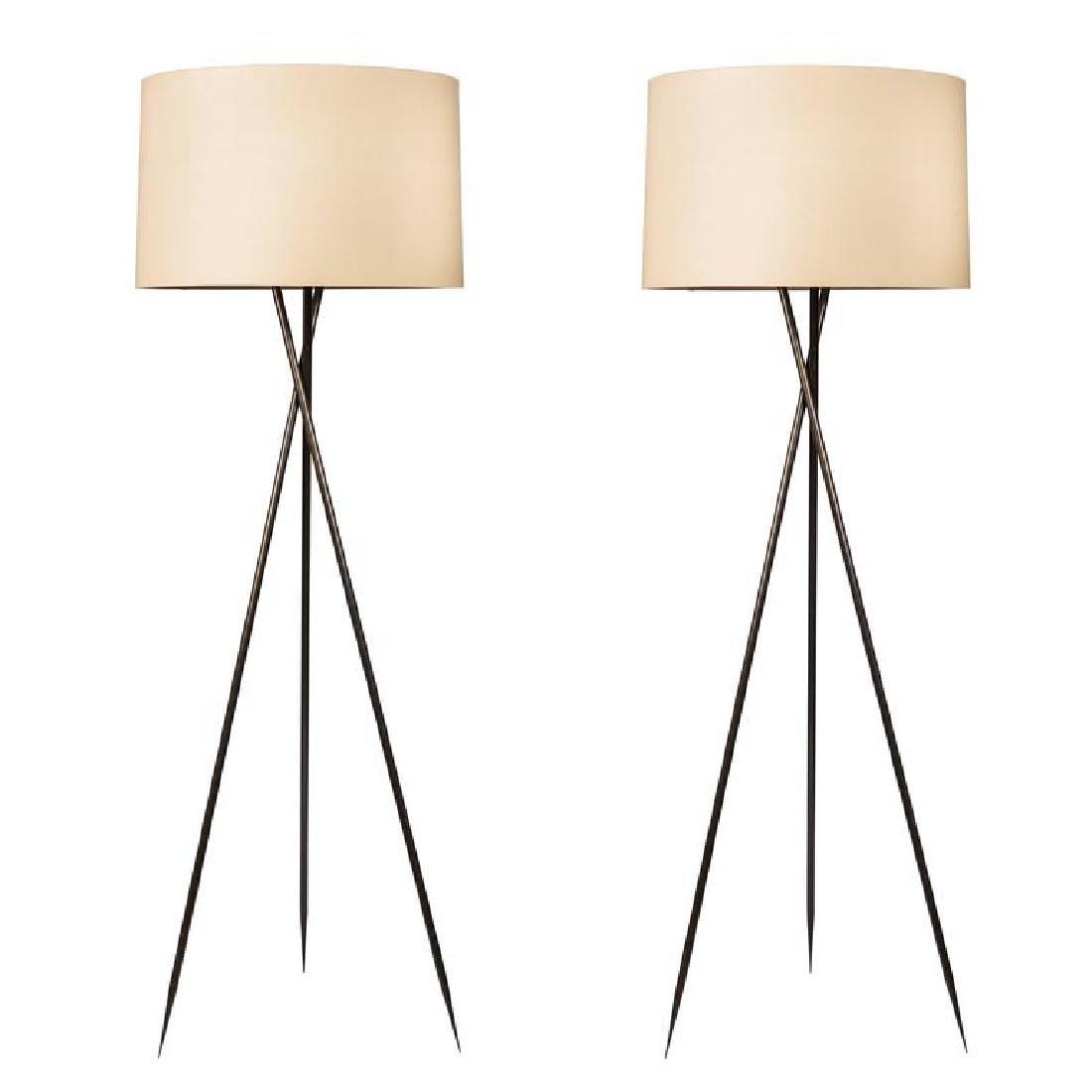 Monumental Bronze Floor Lamps (2)
