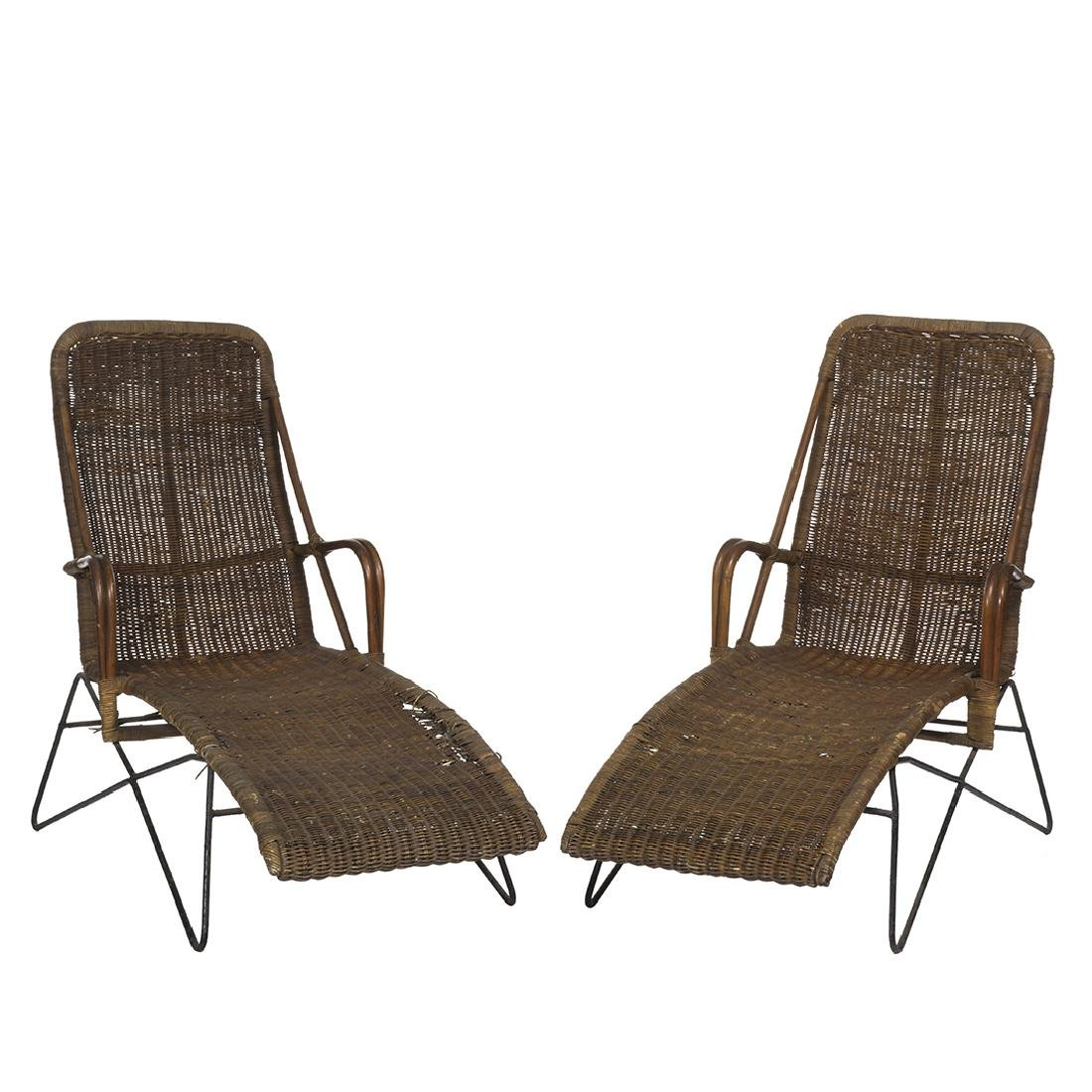 Raoul Guys Style Rattan and Iron Chaise Lounges (2)