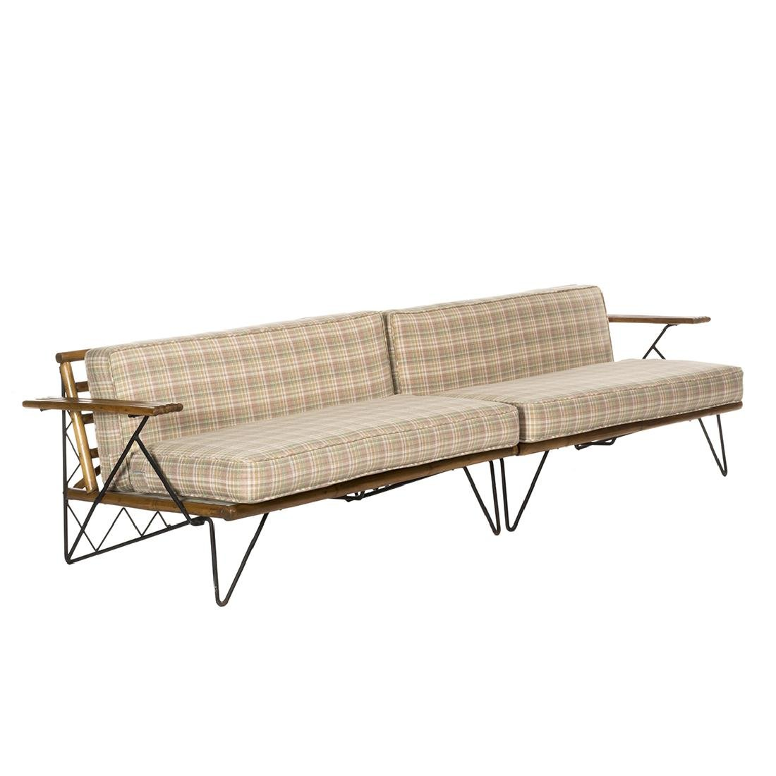Mid-Century Iron and Bamboo Sectional
