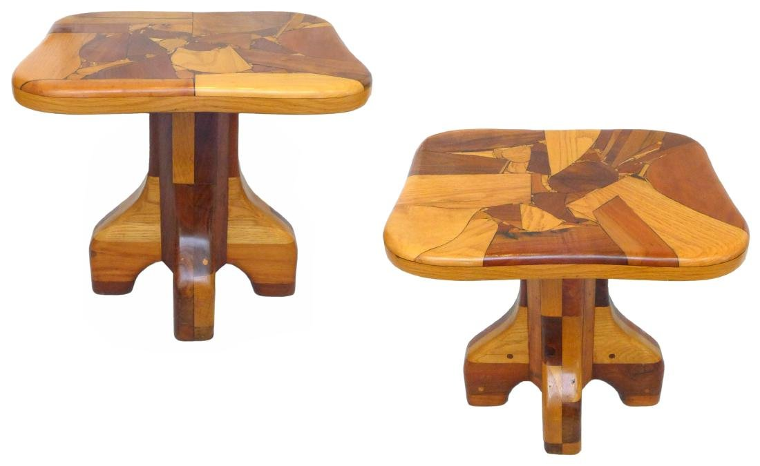 Organic Design Marquetry Side Tables (2)