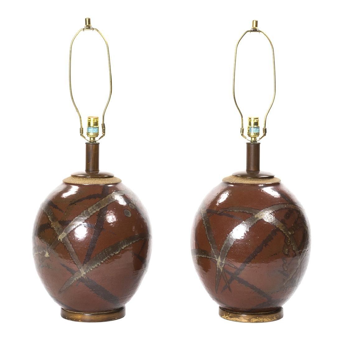 Brent Bennett Stoneware Lamps (2)