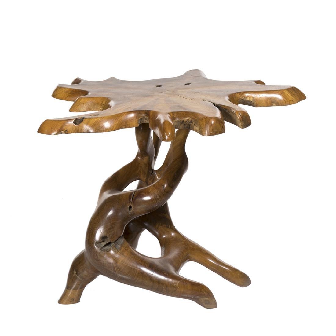 Organic teak end table