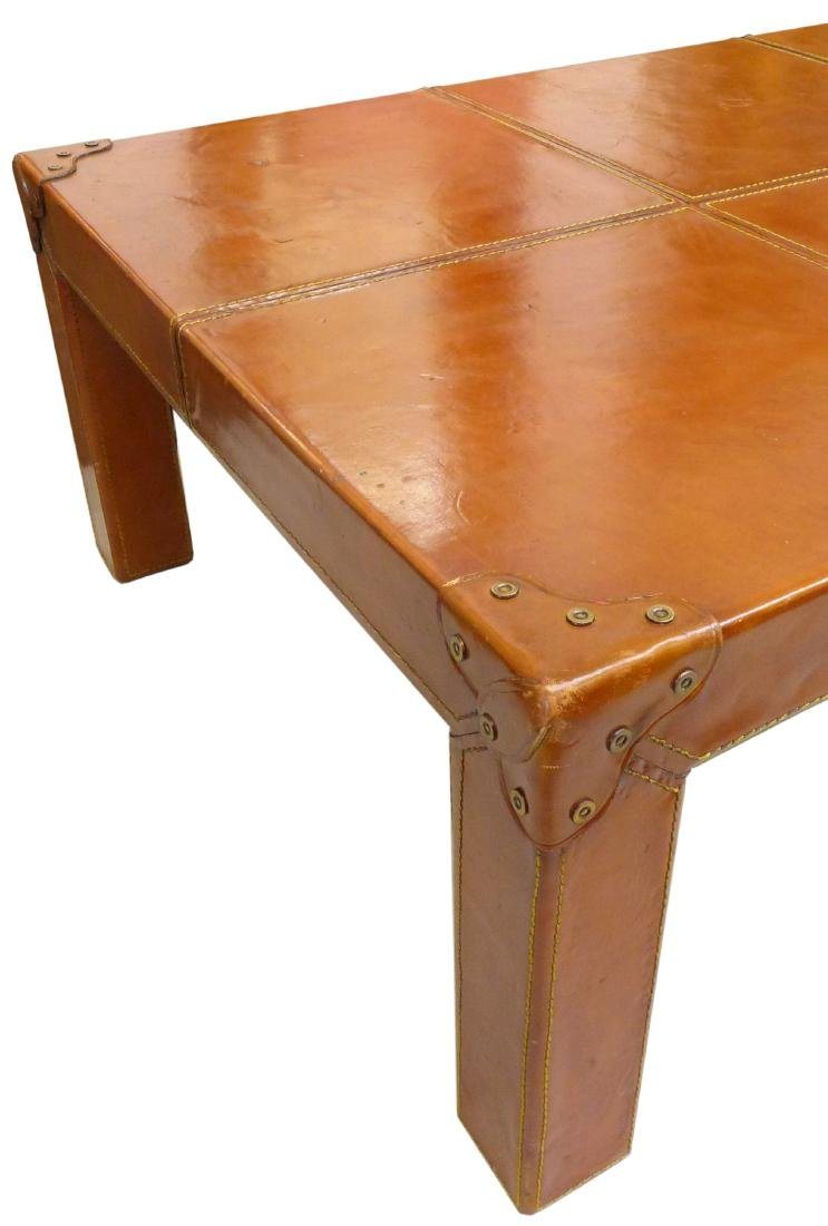 French Leather Wrapped Coffee Table - 2