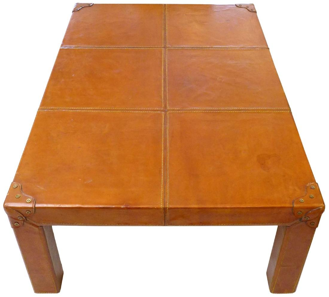 French Leather Wrapped Coffee Table - 3