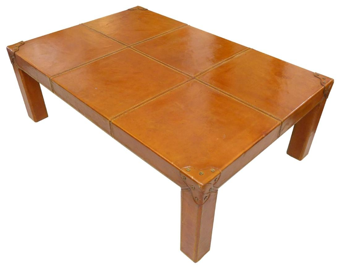French Leather Wrapped Coffee Table - 4